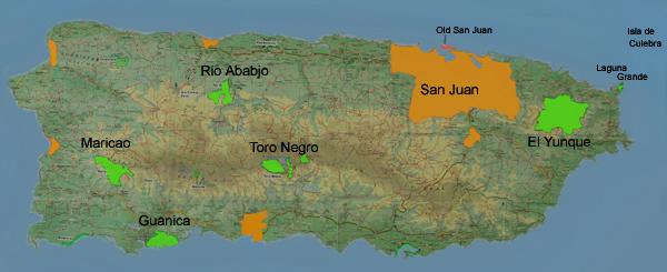 Mapa Portorika s naznačením lokalit, kde volně žijí amazoňani portoričtí: na severu ostrova jde o Rio Abajo, na východě o El Yunque a nově přibude západní lokalita Maricao (Zdroj: Jayjjohnson.com)
