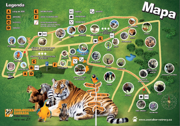 Orientační plán Zoo Tábor Větrovy (Zdroj: www.zootabor-vetrovy.cz)