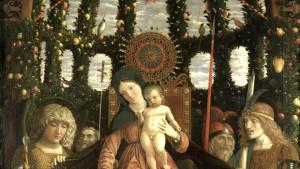 Madonna a kakadu na fresce z roku 1496