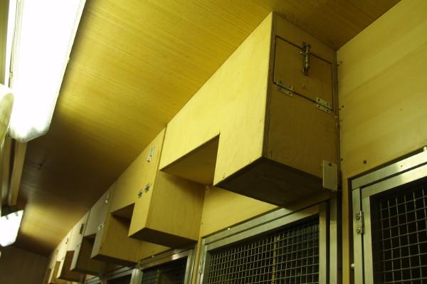 Zázemí chovného zařízení pro aratingy s hnízdními budkami, které jsou umístěny vně zálety v obslužné chodbě (Foto: Jan Sojka, Nová Exota)