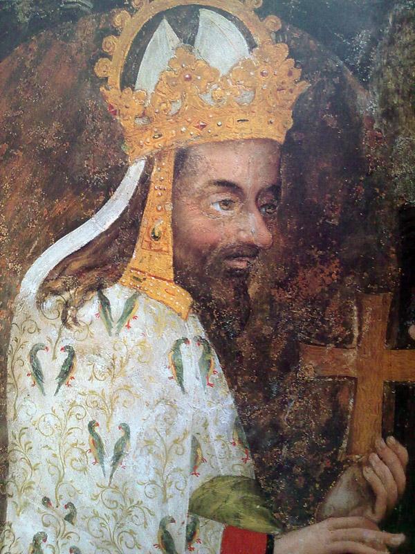 Papoušci se objevují  na celém plášti Karla IV. Jsou to alexandři malí?