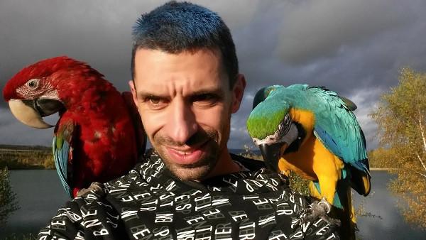 Jan Matoušek praktikuje volné lety papoušků a prostřednictvím Facebooku podpořil kampaň na záchranu arů kanind (Foto: archiv Jana Matouška)