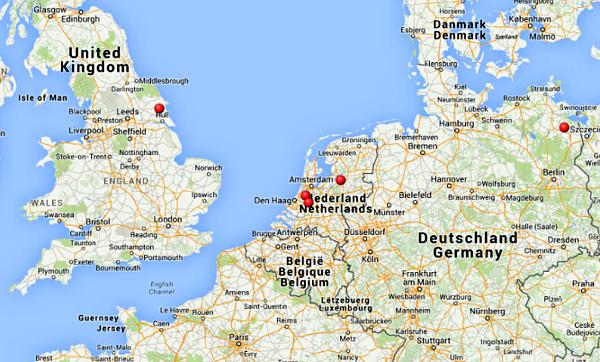 Aktuální známá ohniska nákazy ptačí chřipky v Evropě, na mapě jsou zvýrazněna červenými body (Zdroj: Státní veterinární správa)