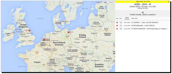 Mapa výskytu ptačí chřipky H5N8 v Evropě. Červenými body jsou zakreslena místa odhalení nákazy. (Zdroj: Státní veterinární správa)