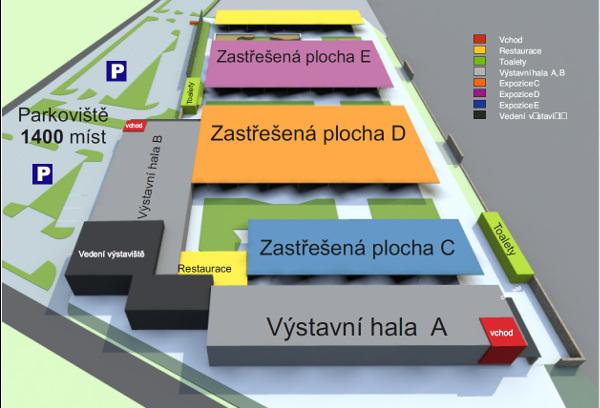 Mapa kroměřížského výstaviště Floria (Zdroj: www.vystavistefloria.cz)