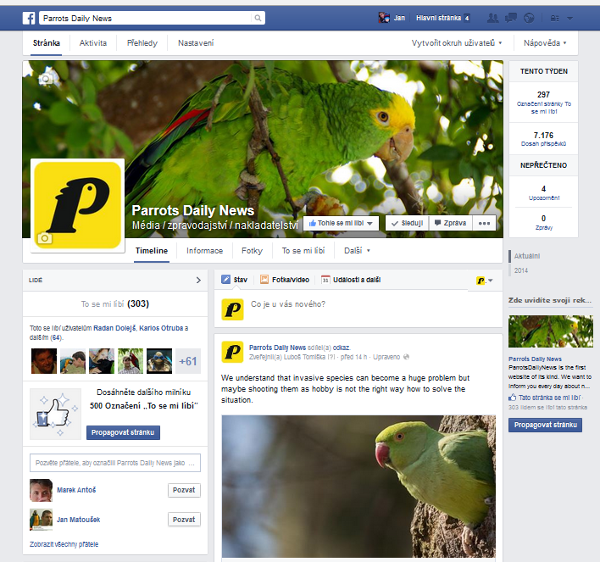 Profil webu ParrotsDailyNews.com na Facebooku. Najdete ho na adrese https://www.facebook.com/pages/Parrots-Daily-News/928413553836285?fref=ts.