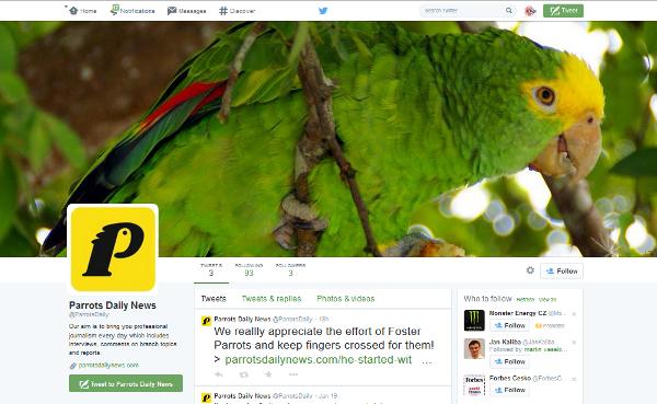 Profil webu ParrotsDailyNews.com na Twitteru. Najdete ho na adrese https://twitter.com/ParrotsDaily