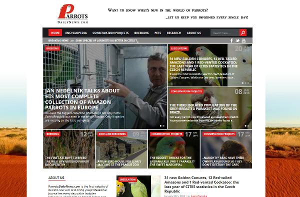 Aktuální podoba nového mezinárodního webu pro chovatele papoušků ParrotsDailyNews.com (Screenshot: Ararauna.cz)