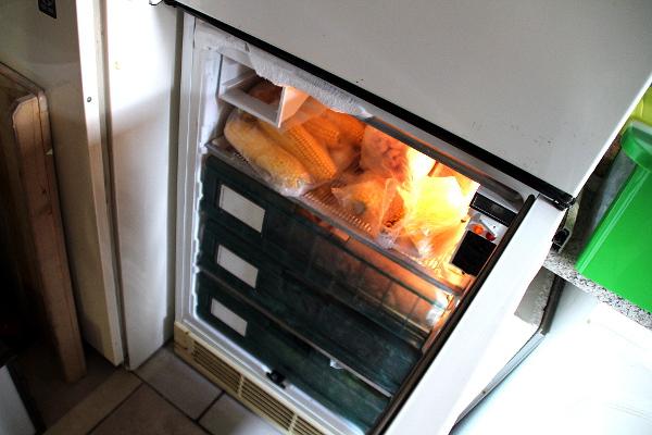 Nechybí ani mrazák se zásobou kukuřice v mléčné zralosti, aróniemi, jeřabinami či šípky (Foto: Jan Potůček, Ararauna.cz)