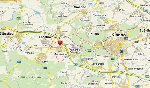 Nové záchranné centrum CITES mělo vyrůst poblíž středočeských Tuchlovic (Zdroj: Mapy.cz)