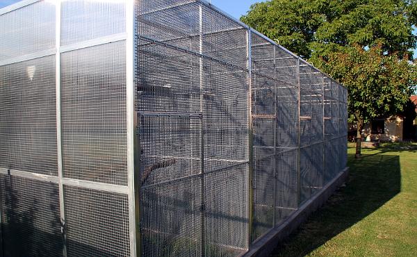 Návětrnou stranu (vlevo) je dobré zakrýt po celé délce polykarbonátem a chránit tak papoušky před poryvy větru (Foto: Jan Potůček, Ararauna.cz)