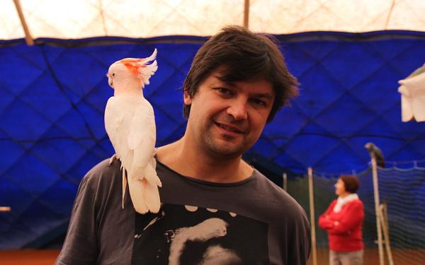 Majitel tenisové haly Jan Písecký je sám chovatelem papoušků. Do haly chodí létat s kakaduem inkou a žakem. (Foto: Milena Potůčková, Čoko-papoušek.cz)
