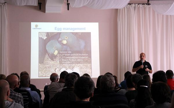 Kurátor Loro Parque Juan Cornejo přednáší o chovu arů kobaltových (Foto: Jan Potůček, Ararauna.cz)