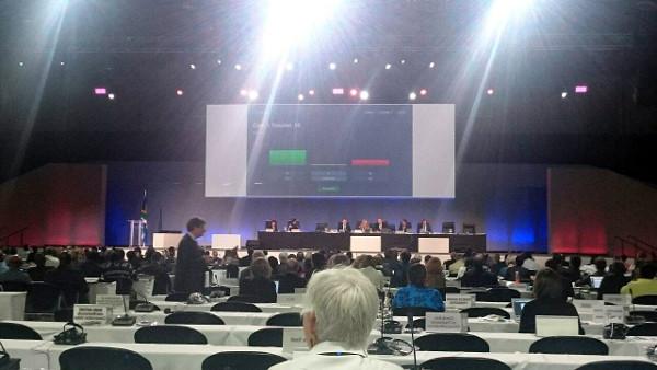 Výsledek hlasování o přeřazení žaků do CITES I na konferenci CoP17 v jihoafrickém Johannesburgu (Screenshot: CITES)